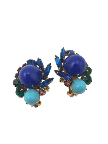 Blue 1960s Juliana Earrings