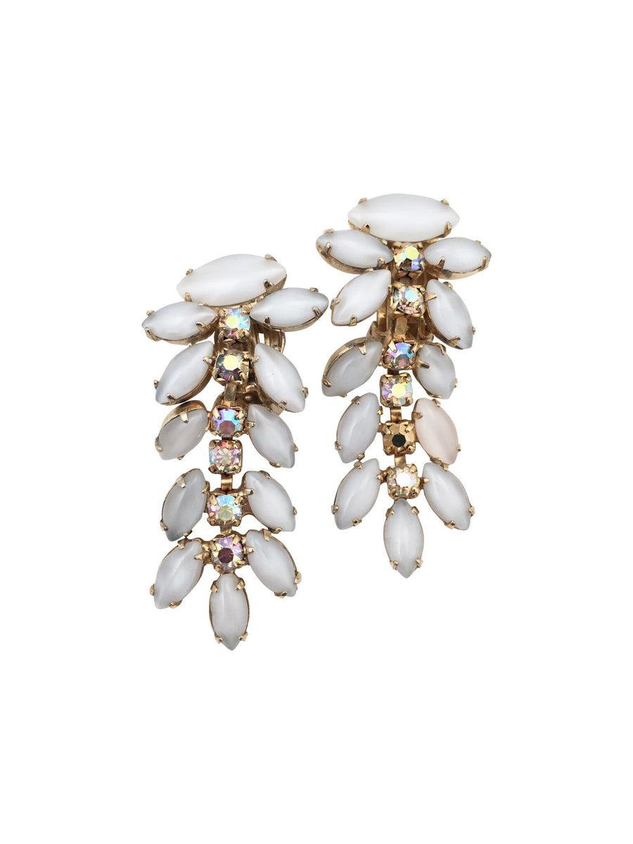Weiss 1950s White Moonstone and Rhinestone Tiered Earrings