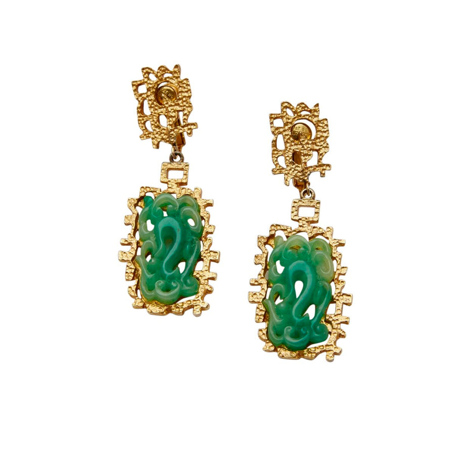 1960s Faux Jade Asian Inspired Earrings