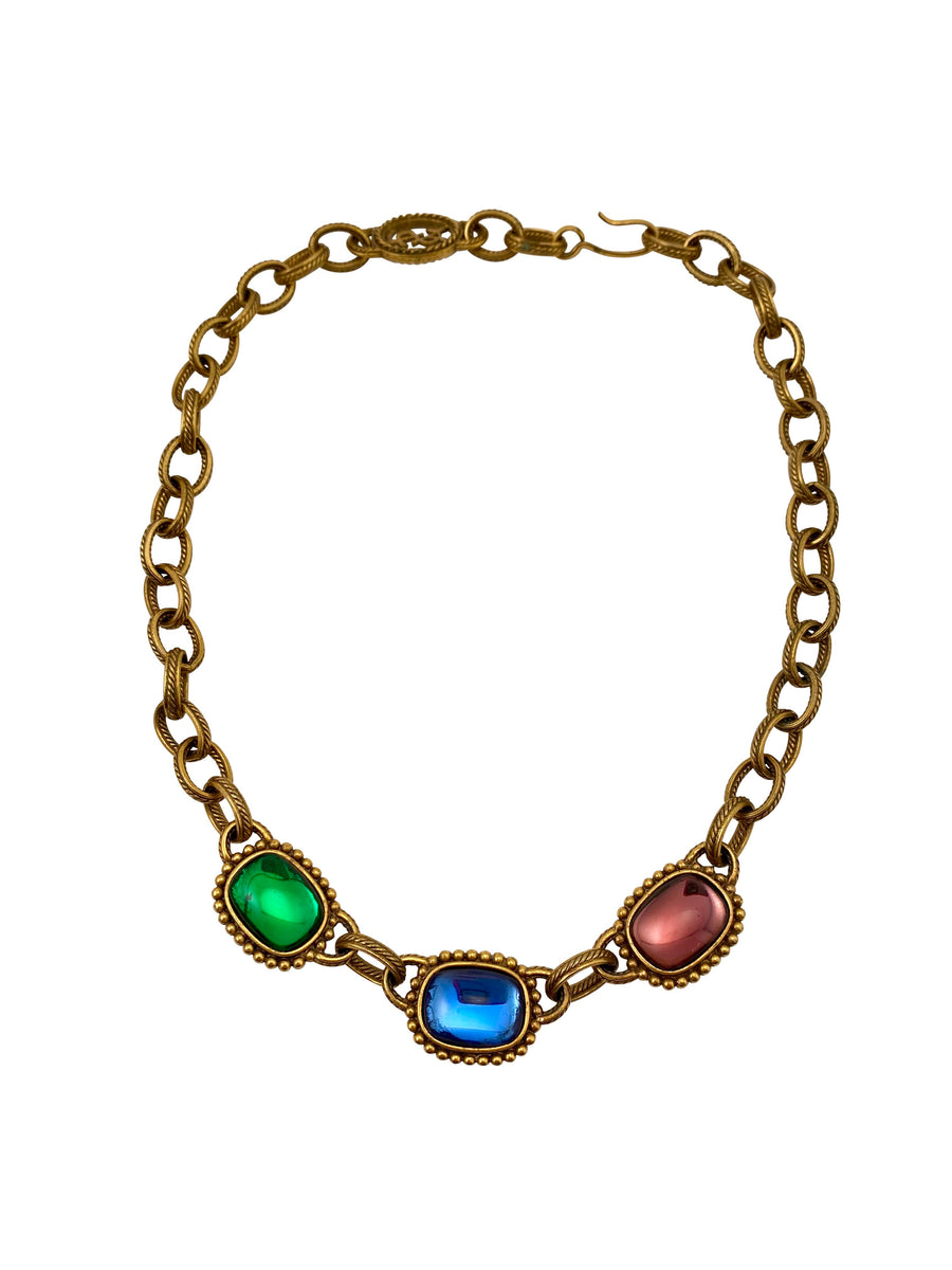 Yves Saint Laurent 1980s Reversible Glass Stone Necklace