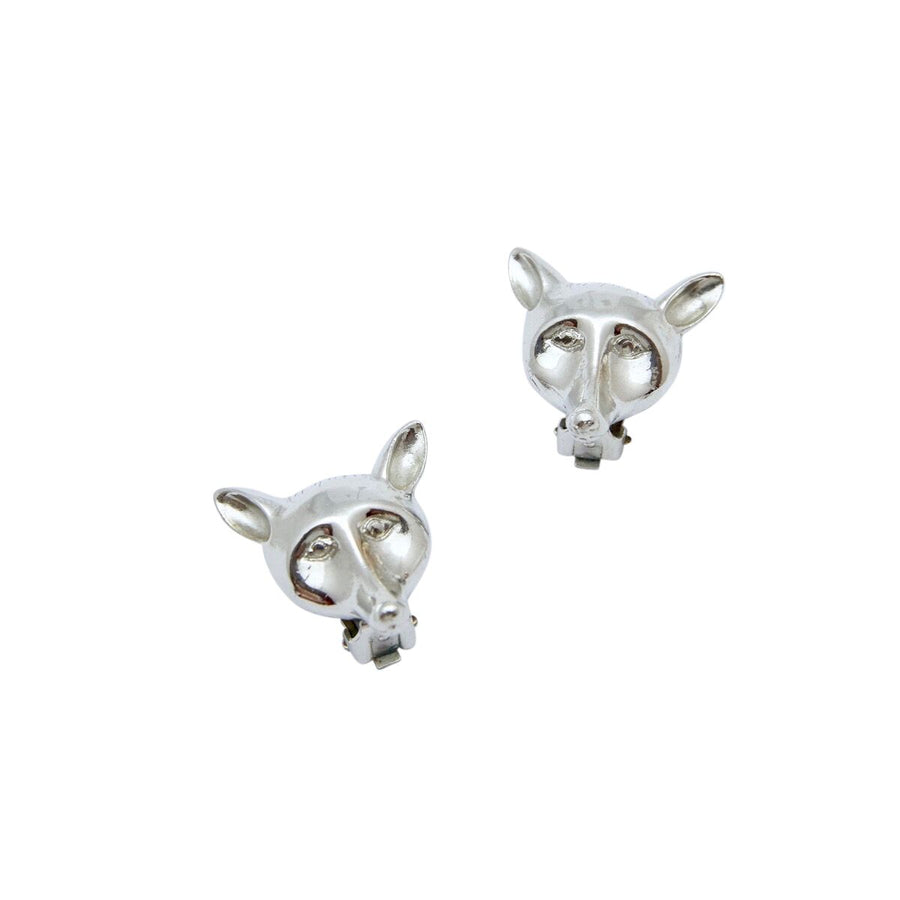 Castlecliff Silvertone Fox Earrings 1950s