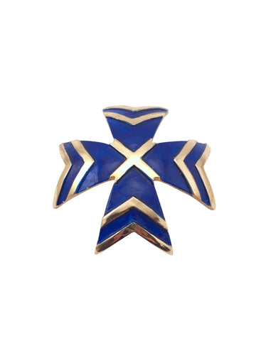 Blue 1960s Kenneth Jay Lane K.J.L. Maltese Cross Brooch