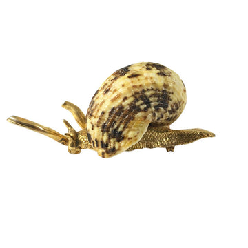 1970s Kenneth Jay Lane Snail Brooch with Real Seashell