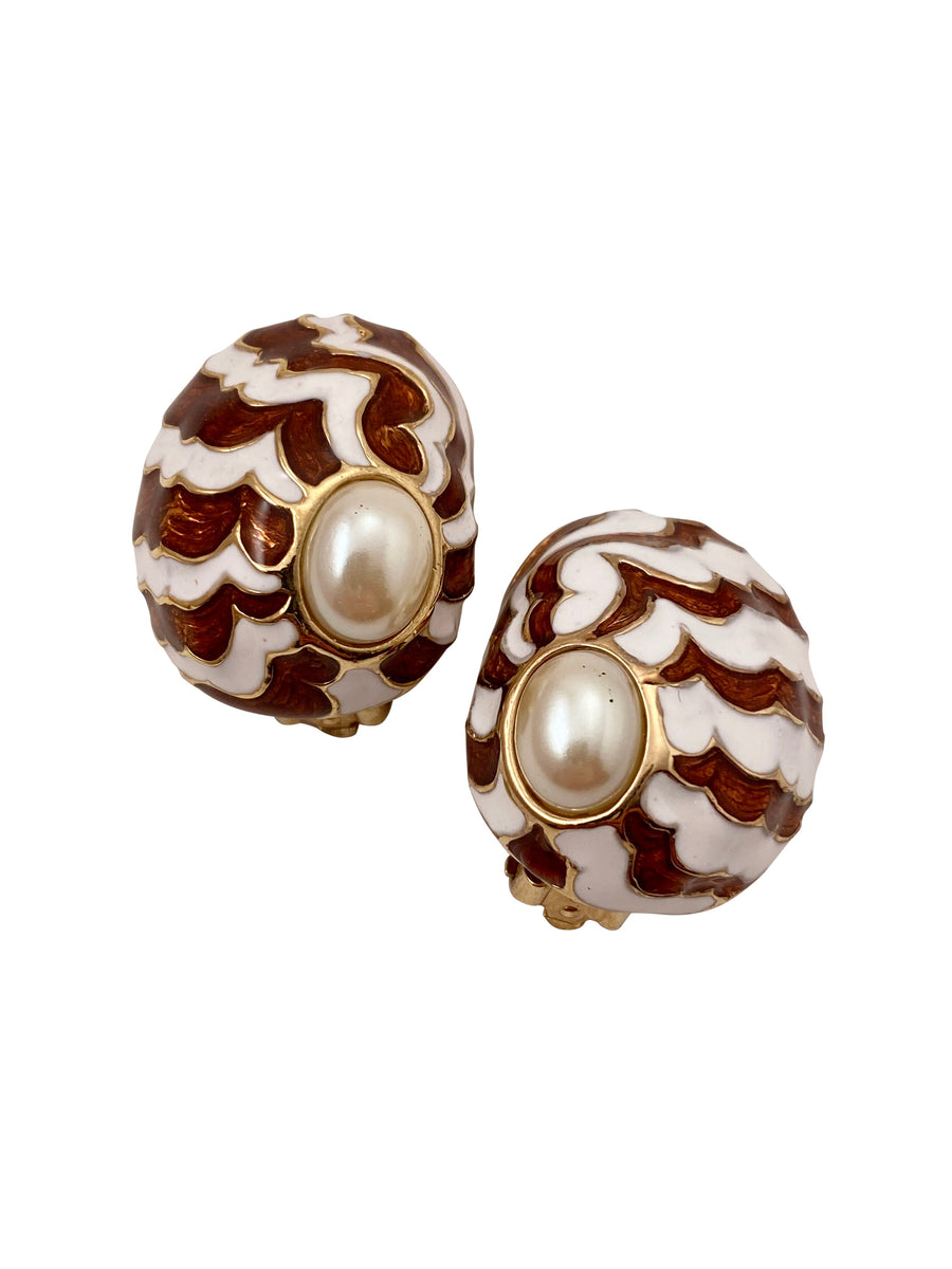 Mariko of Palm Beach Brown and White Shell and Pearl Earrings