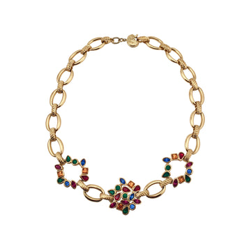 Yves Saint Laurent YSL Necklace with Multi-Colored Stones 1980s