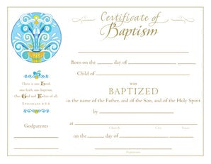 Baptism Certificate - Paraclete Press