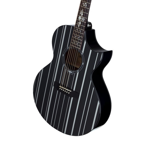 Synyster Gates Autographed Acoustic Guitar Gloss Black and Silver Pinstripes