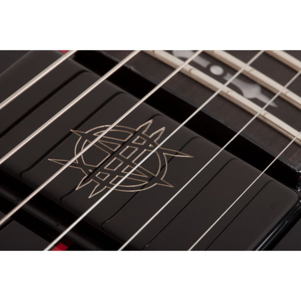 Synyster Gates Exclusive Autographed RED RUM Guitar Black with Red Pinstripes Custom with Schecter USA Synyster Gates Signature Humbucker Pickups by Schecter Guitar Research 1760