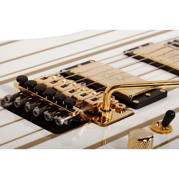EXCLUSIVE GOLDEN GODDESS Synyster Gates Autographed Guitar White with Gold Pinstripes Custom with Schecter USA Synyster Gates Signature Humbucker Pickups by Schecter Guitar Research 1759