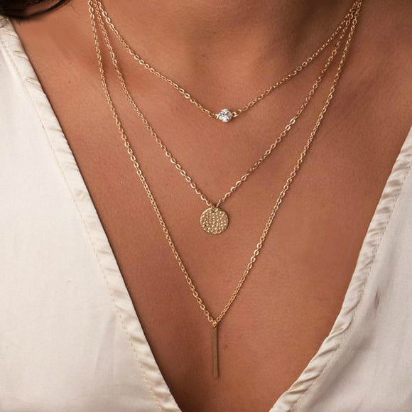 Triple Layer Diamond, Coin, and Rod Necklace