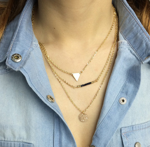 Triple Layer Triangle and Coin Necklace