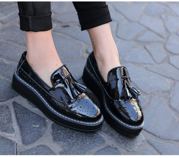 Patent Leather Platform Oxfords