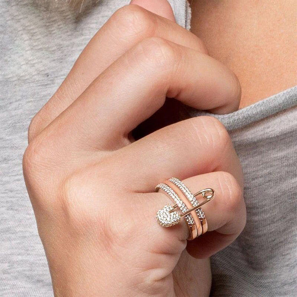 Safety Pin Stacked Ring