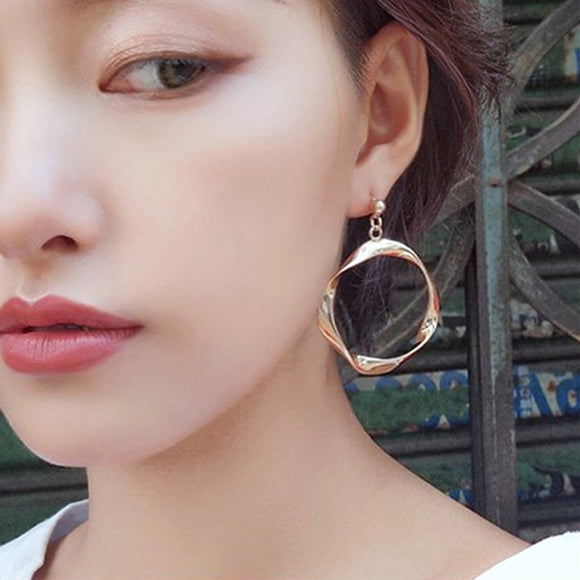 Drop Twisted Hoop Earrings