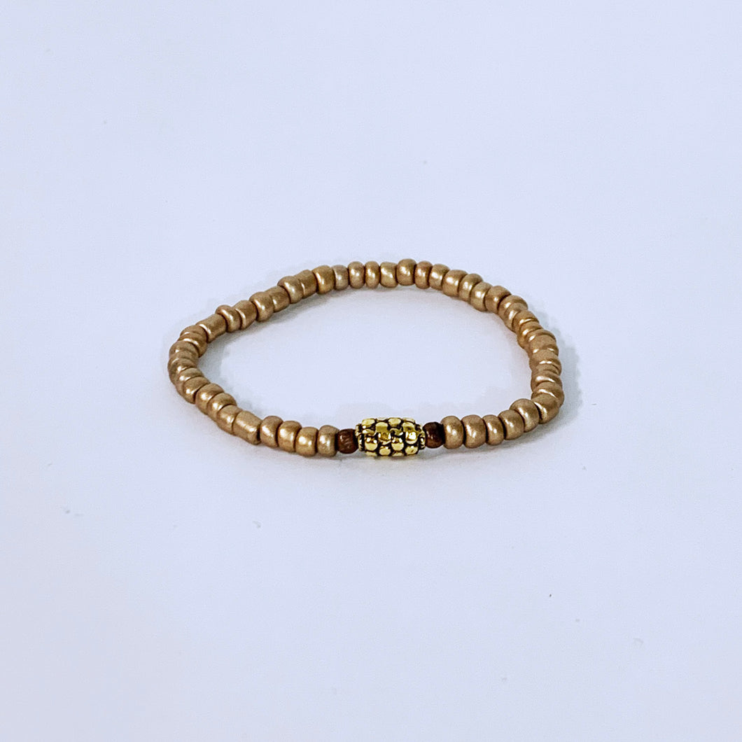 Gold Glass Beads With Center Piece Bracelet