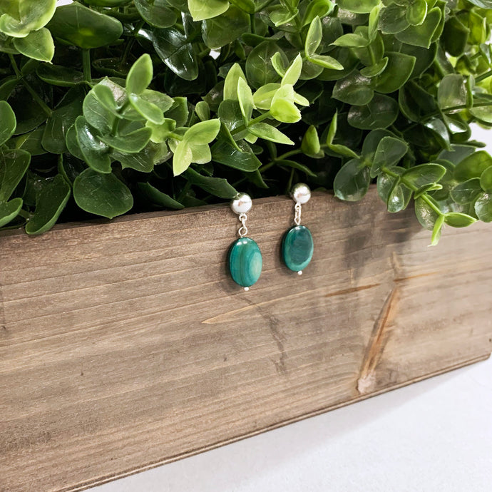 Green Glass and Silver Earrings