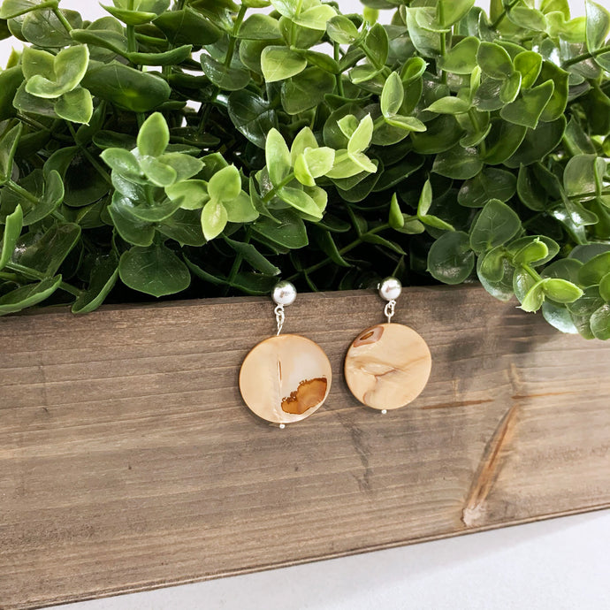 Tan Glass and Silver Earrings