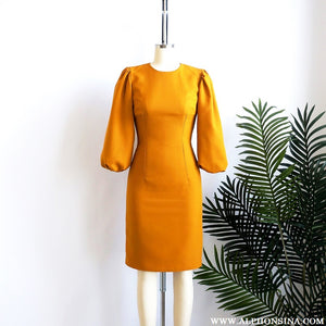 PORTFOLIO | Golden Puffed Sleeves Dress