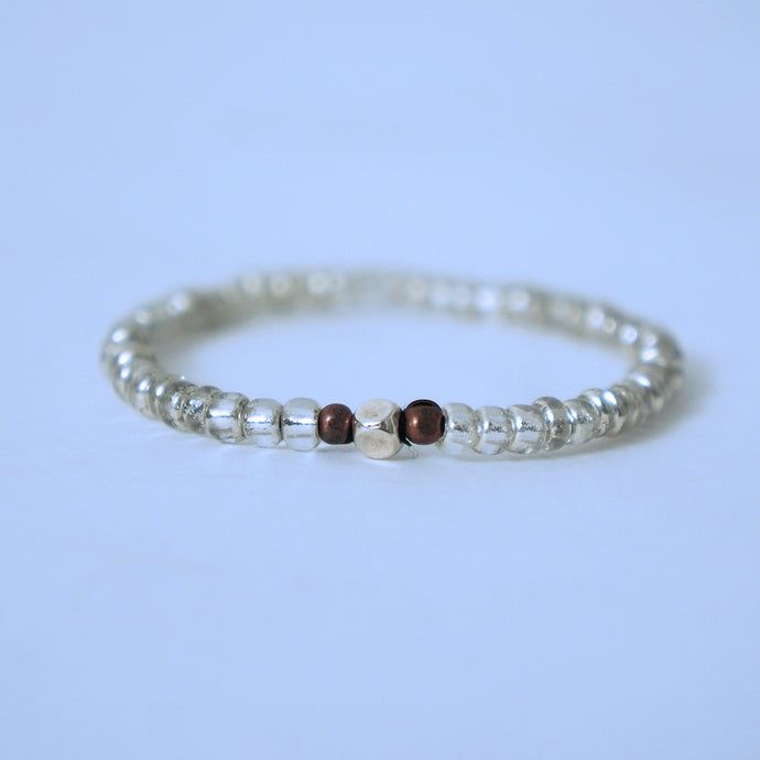 Silver Glass Beads With Center Piece Bracelet