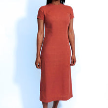 Load image into Gallery viewer, Coral Linen Short Sleeves Dress