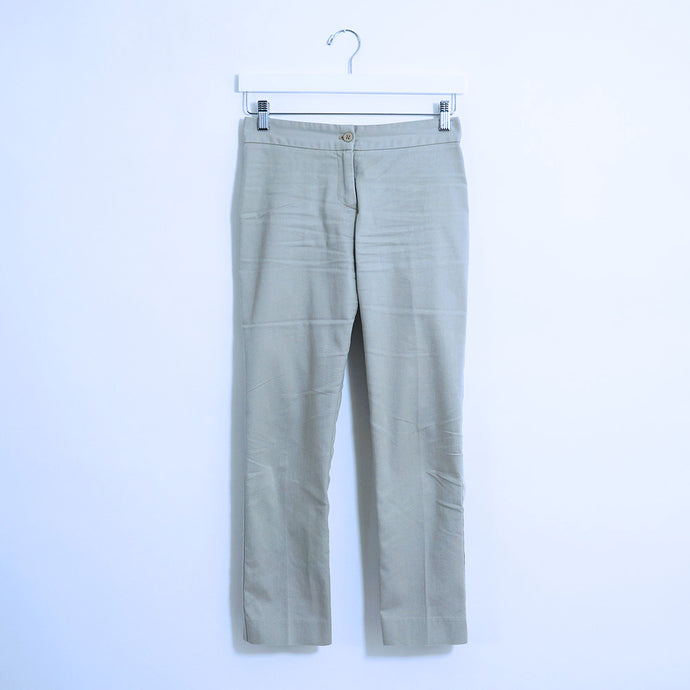 Tan Cotton Straight Leg Pants