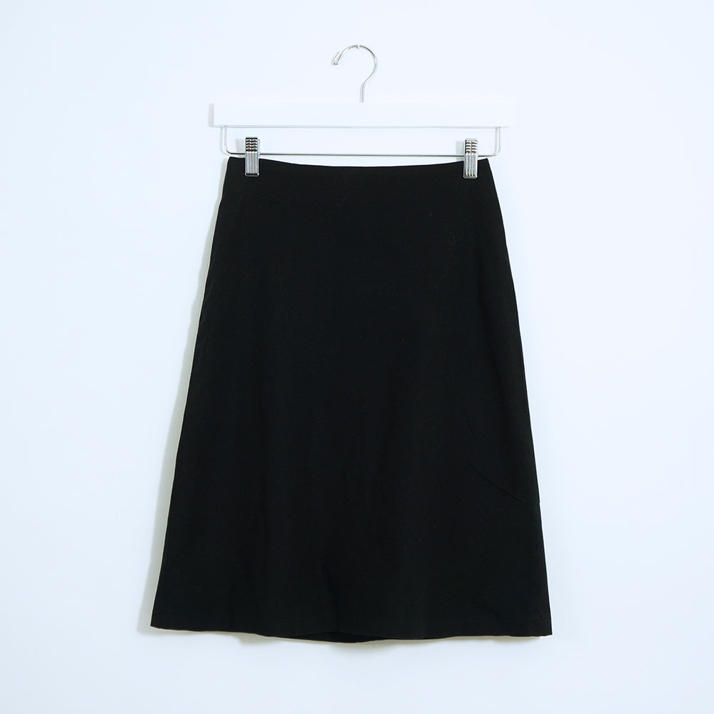 Black Cotton A Skirt