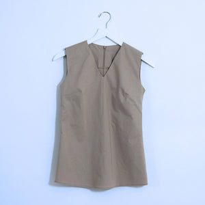 Tan Cotton Sleeveless Top