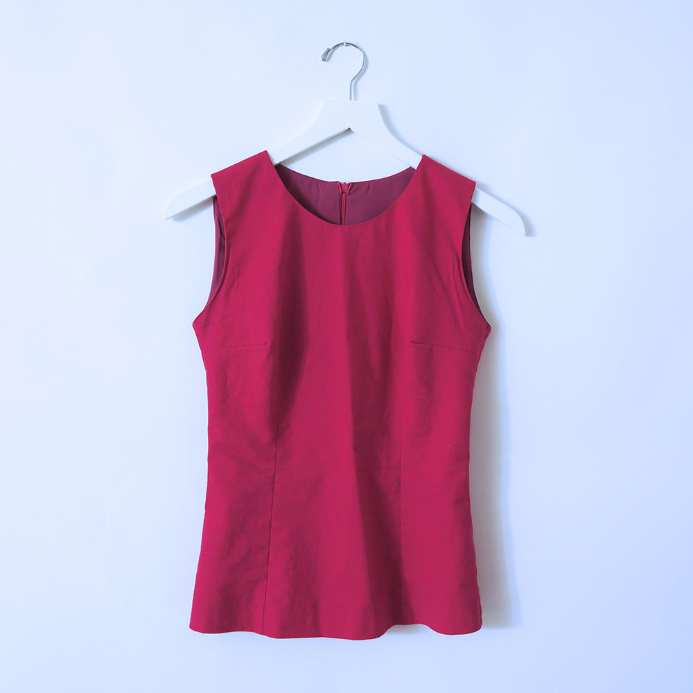 Hot Pink Cotton Sleeveless Top