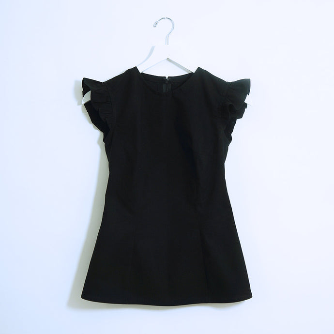 Black Cotton Ruffle Short Sleeves Top
