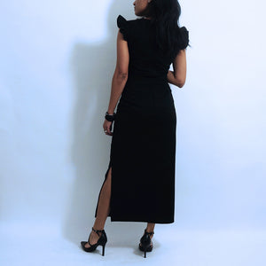 Black Cotton Side Slit Midi Pencil Skirt
