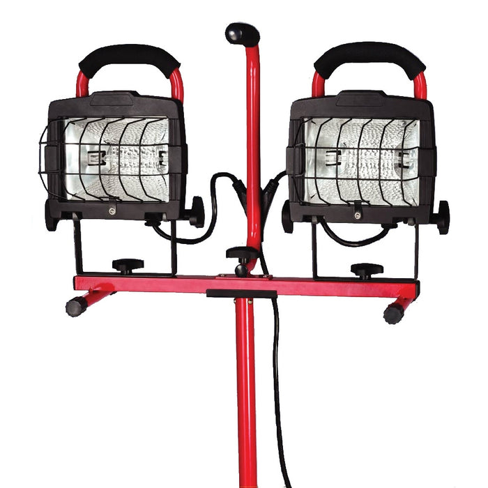 Toolway- 140512- 4-Level Twin Halogen Work Lights w/Adj. Tripod