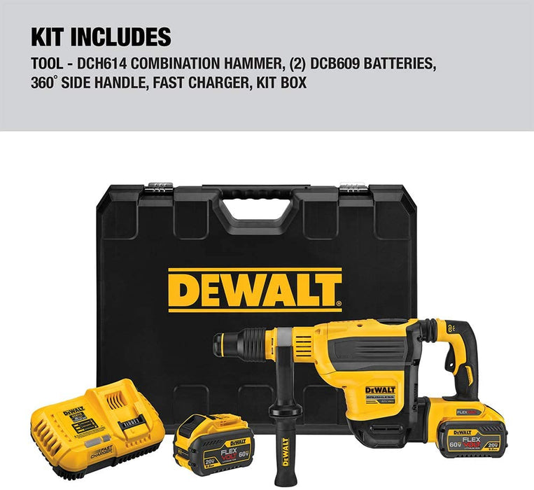 DEWALT 60V MAX 1-3/4 in Brushless Cordless SDS MAX Combination Rotary Hammer Kit [DCH614X2]