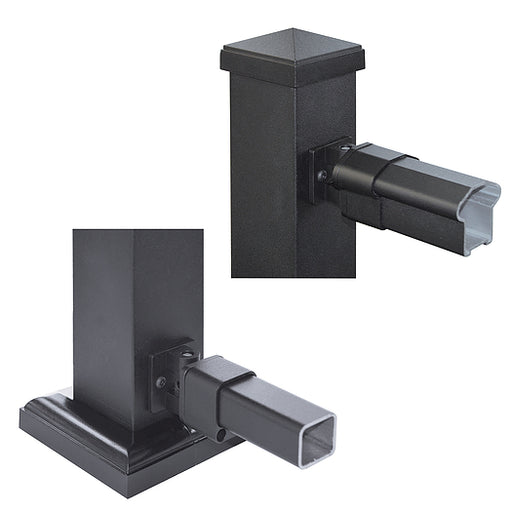 Nuvo Iron Rail End Stairs Bracket (Black) [BLTBRSB]