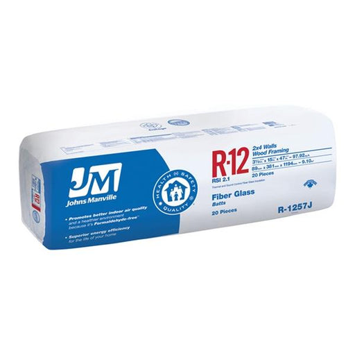 "Johns Manville Fiberglass Insulation R-12 16"" x 47"" x 3.5""; 106.67 sq.ft"