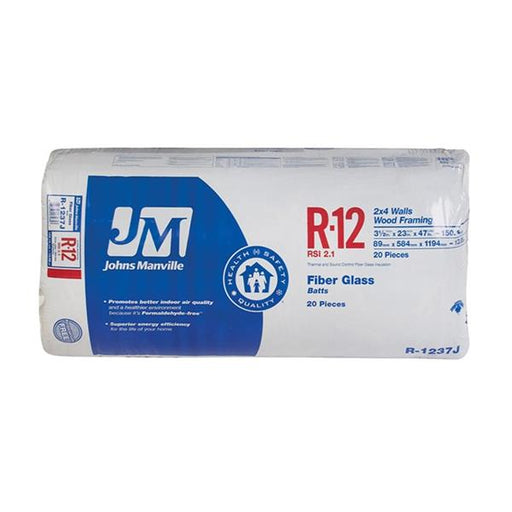 "Johns Manville Fiberglass Insulation R-12 23"" x 47"" x 3.5""; 150.1 sq.ft"