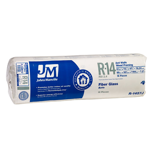 "Johns Manville Fiberglass Insulation R-14 15"" x 47"" x 3.5""; 48.95 sq.ft"