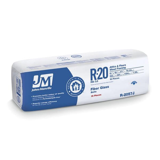 "Johns Manville Fiberglass Insulation R-20 15"" x 47"" x 6""; 78.34 sq.ft"