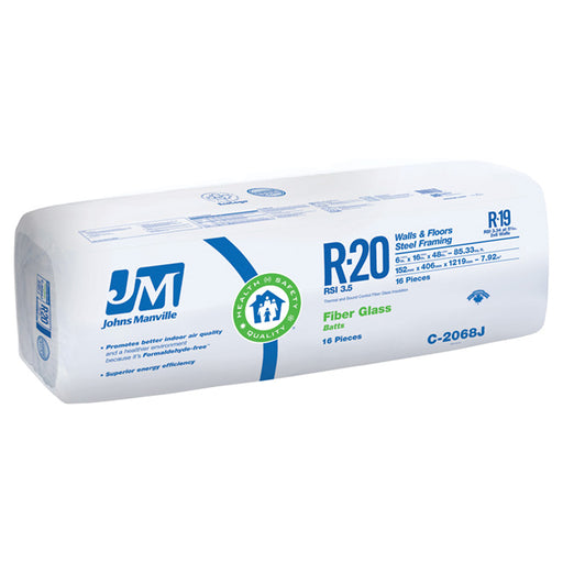"Johns Manville Fiberglass Insulation R-20 19"" x 48"" x 6""; 102.67 sq.ft"
