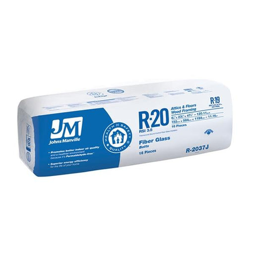 "Johns Manville Fiberglass Insulation R-20 23"" x 47"" x 6""; 120.12 sq.ft"