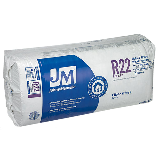 "Johns Manville Fiberglass Insulation R-22 23"" x 47"" x 5.5""; 75.08 sq.ft"