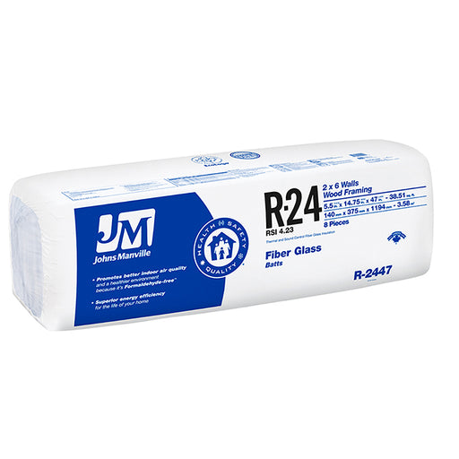"Johns Manville Fiberglass Insulation R-24 23"" x 47"" x 5.5""; 51.98 sq.ft"