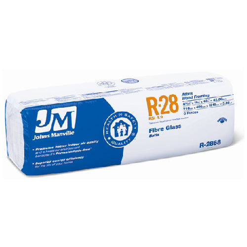 "Johns Manville Fiberglass Insulation R-28 24"" x 48"" x 8.5""; 64 sq.ft"