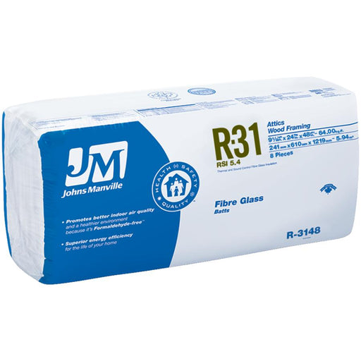 "Johns Manville Fiberglass Insulation R-31 24"" x 48"" x 9.5""; 64 sq.ft"