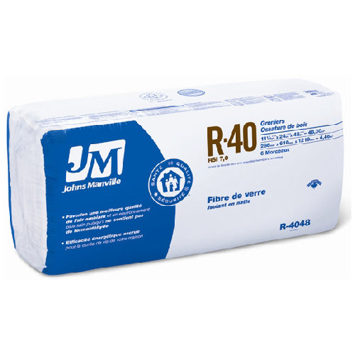 "Johns Manville Fiberglass Insulation R-40 24"" x 48"" x 11""; 48 sq.ft"