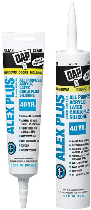 Alex Plus. White Acrylic Latex Caulk Plus Silicone-pack of 4