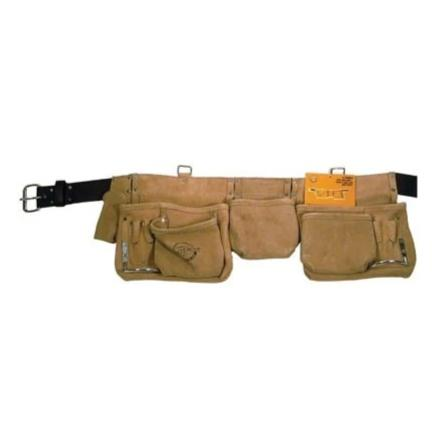 187053 CARPENTER APRON SPLIT LEATHER 12 POCKET (2 LRG 3 MED 7 SM) WITH 2IN LEATHER BELT 187053
