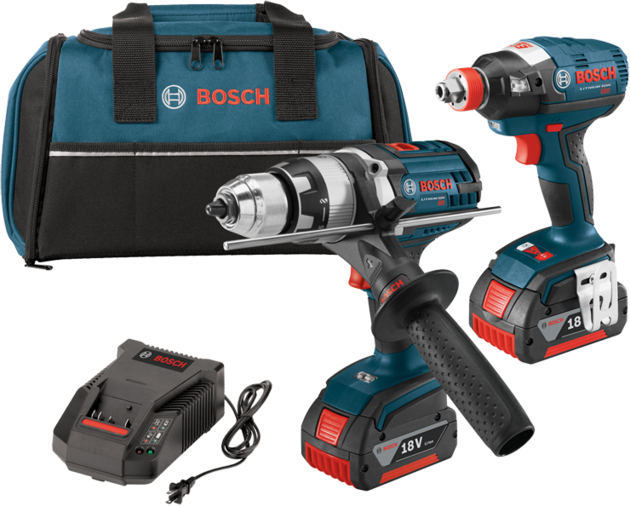 Bosch - CLPK224-181 18 V 2-Tool Kit with EC Brushless 1/4 In. and 1/2 In. Socket-Ready Impact Driver and Brute Tough™ 1/2 In. Hammer Drill/Driver