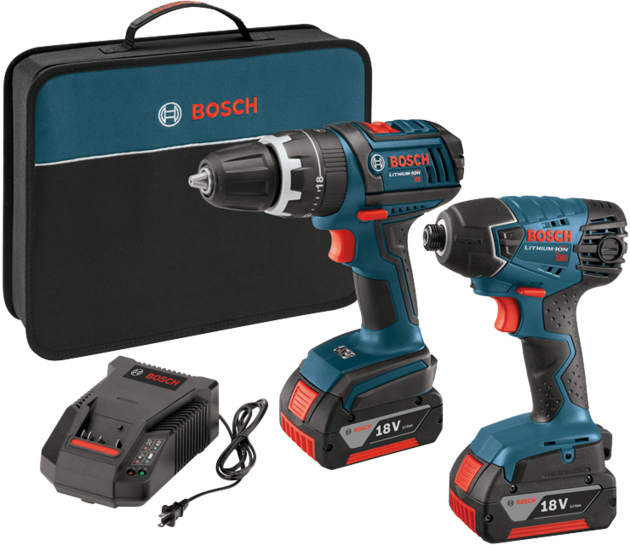 Bosch - CLPK237-181 18 V 2-Tool Compact Tough Hammer Drill Driver and Hex Impact Driver Combo Kit