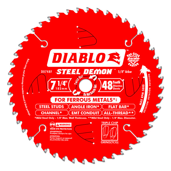 Diablo - 7-1/4 IN. X 48 TOOTH STEEL DEMON METAL CUTTING SAW BLADE