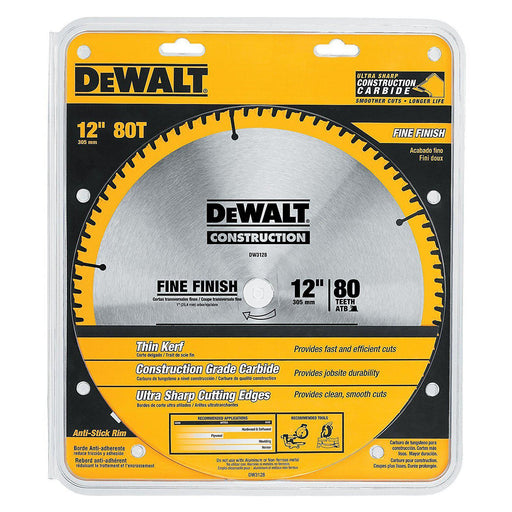 DEWALT DW3128 Construction 12-in 80-Tooth Carbide Saw Blade